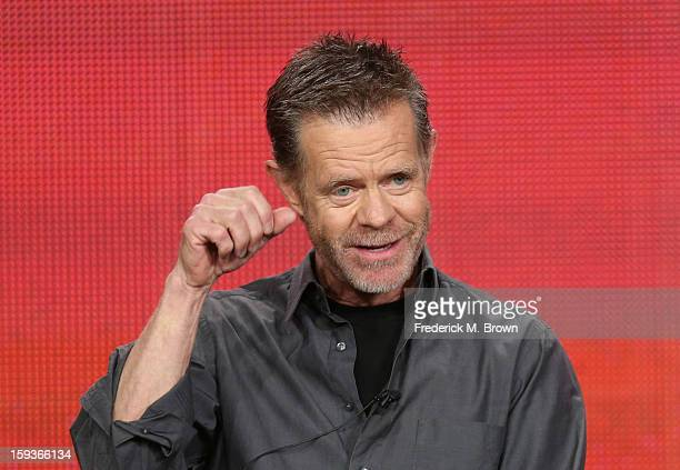 Actor William H Macy of Shameless speaks onstage during the Showtime portion of the 2013 Winter TCA Tour at Langham Hotel on January 12 2013 in...