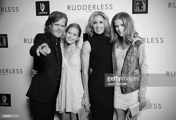 Actor William H Macy Sofia Grace Macy Felicity Huffman and Georgia Grace Macy attend the premiere of Rudderless at the Vista Theatre on October 7...