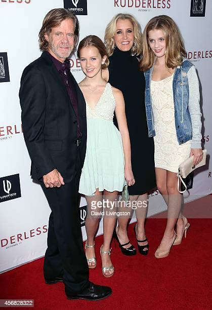 Actor William H Macy wife actress Felicity Huffman and daughters attend a screening of Samuel Goldwyn Films' Rudderless at the Vista Theatre on...
