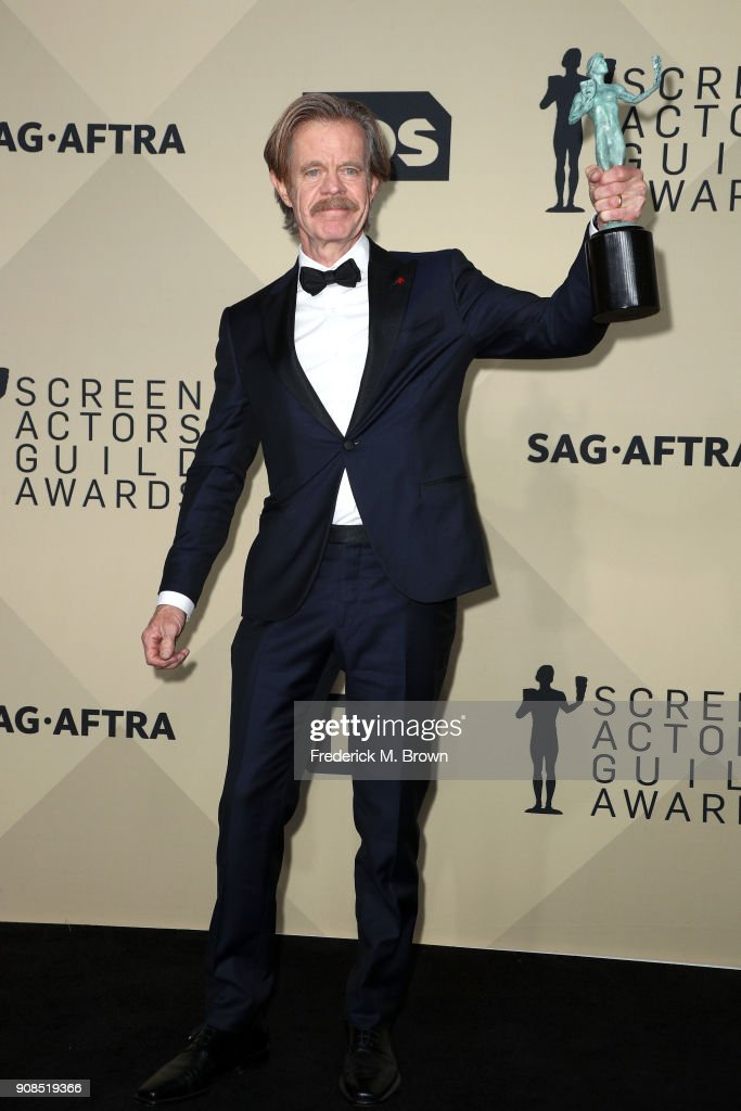 Actor William H. Macy, winner of Outstanding Performance by a Male Actor in a Comedy Series for 'Shameless', poses in the press room during the 24th Annual Screen Actors Guild Awards at The Shrine Auditorium on January 21, 2018 in Los Angeles, California. 27522_017