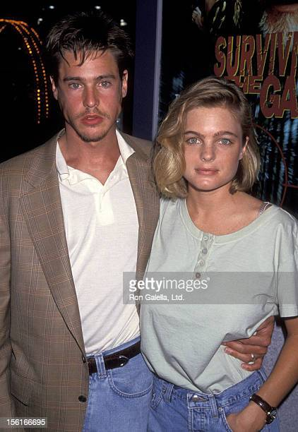 Actor William McNamara and actress Erika Eleniak attend Video Software Dealers Association Convention on July 25 1994 at the Las Vegas Convention...