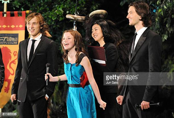 Actor William Moseley actress Georgie Henley and actor Ben Barnes attend The Chronicles of Narnia Prince Caspian Japan Premiere at Roppongi Hills...