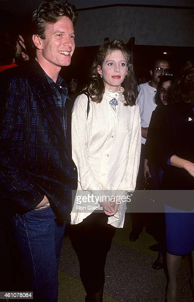 Actor William R Moses and actress Tracy Nelson attend the Down and Out in Beverly Hills Westwood Premiere on January 28 1986 at Mann Bruin Theatre in...