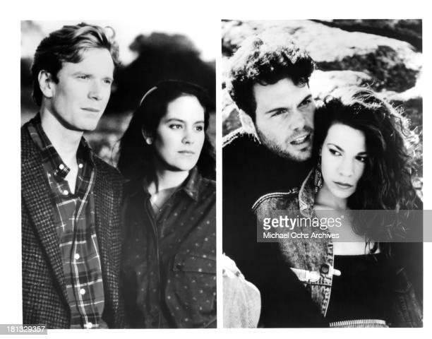 Actor William R Moses with actress Annabeth Gish actor Vincent D'Onofrio and actress Lili Taylor on set of the movie 'Mystic Pizza' in 1988