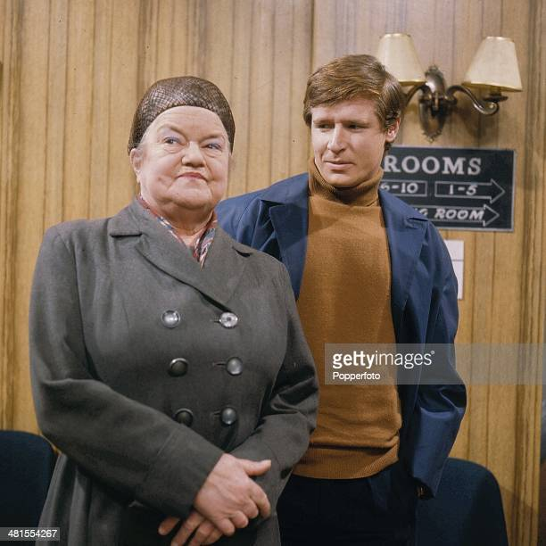 1968 Actor William Roache and actress Violet Carson pictured in character as Ken Barlow and Ena Sharples in a scene from the long running television...