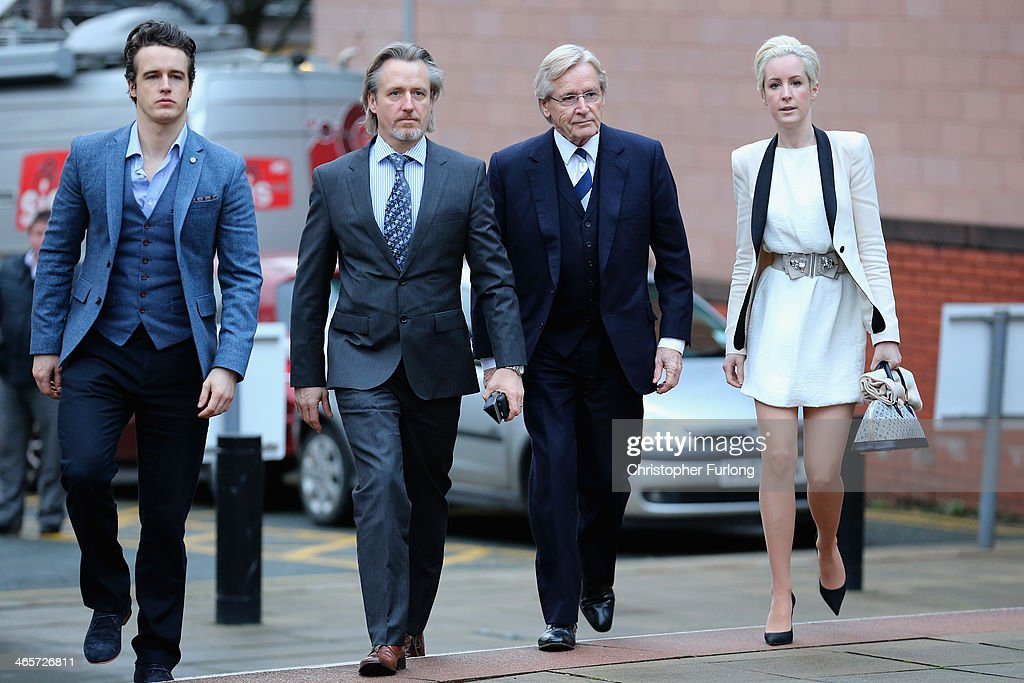 Actor William Roache (2nd R) arrives at Preston Crown Court with his children (L-R) James Roache, Linus Roache and Verity Roache for his trial over historical sexual offence allegations on January 29, 2014 in Preston, Lancashire. The Coronation Street star, who plays the character Ken Barlow on the ITV soap, is charged with two rape and four indecent assault allegations which relate to incidents between 1965 and 1971.