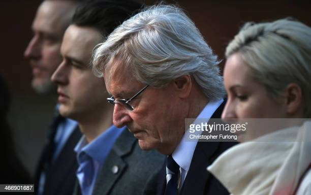 Actor William Roache arrives at Preston Crown Court with his children Linus Roache, James Roache and Verity Roache for of his trial over historical...
