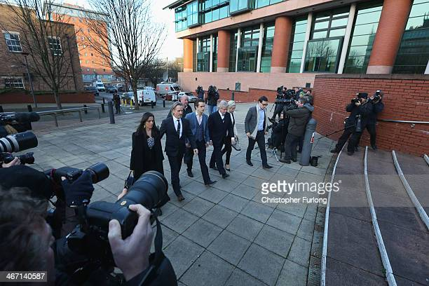 Actor William Roache arrives at Preston Crown Court, with Rosalind Bennett and her husband Linus Roache, James Roache, daughter Verity and her...