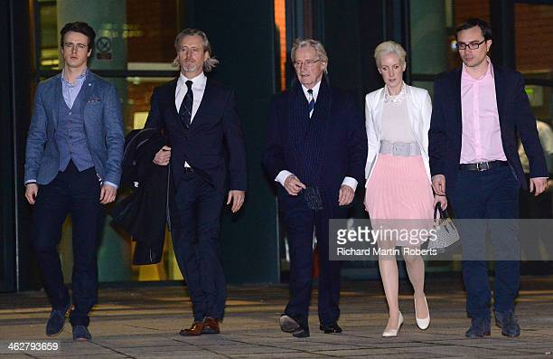 Actor William Roache departs court with his daughter Verity and sons James and Linus after the second day of his trial for historical sexual offence...