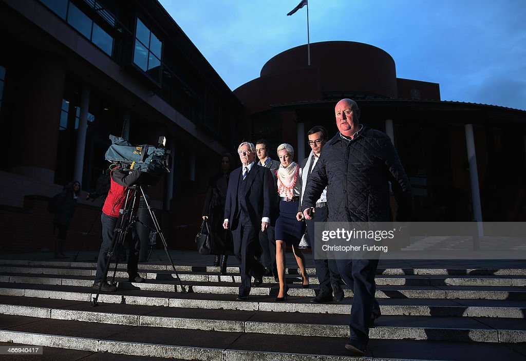 Actor William Roache (C) leaves Preston Crown Court, with family members as he faces trial over historical sexual offence allegations on February 5, 2014 in Preston, Lancashire. On the 16th day of the trial the jury retired to consider their verdict of the Coronation Street star, who plays the character Ken Barlow on the ITV soap. Roache is charged with two rape and four indecent assault allegations which relate to incidents between 1965 and 1971.