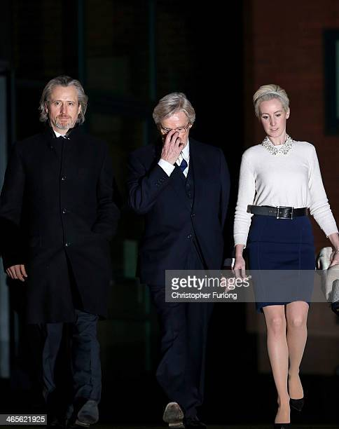 Actor William Roache leaves Preston Crown Court with his children Linus Roache and Verity Roache as they attend his trial over historical sexual...