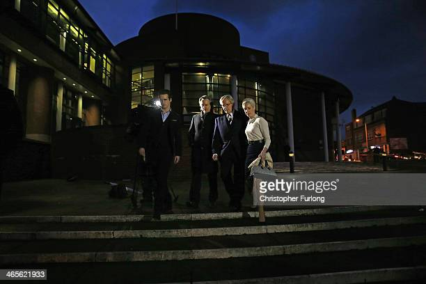 Actor William Roache leaves Preston Crown Court with his children James Roache Linus Roache and Verity Roache as they attend his trial over...