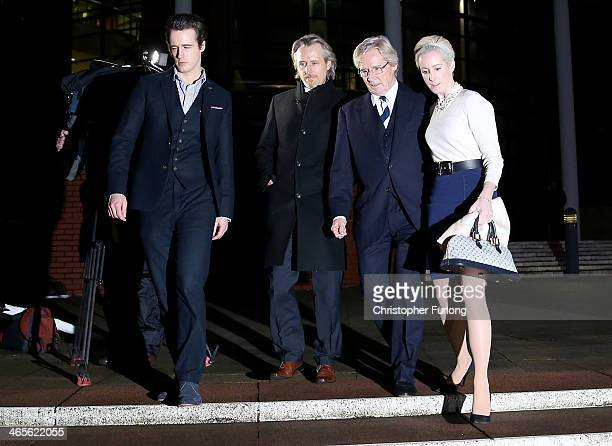 Actor William Roache leaves Preston Crown Court with his children James Roache, Linus Roache and Verity Roache as they attend his trial over...
