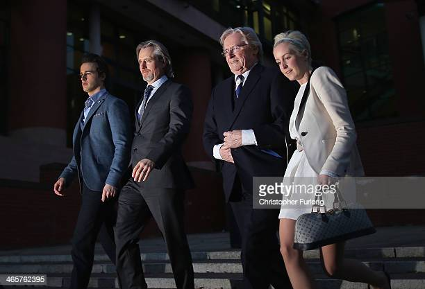 Actor William Roache leaves Preston Crown Court with his children James Roache, Linus Roache and Verity Roache after the 11th day of his trial over...