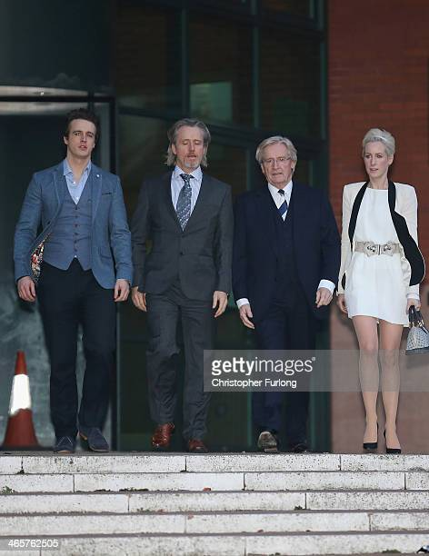 Actor William Roache leaves Preston Crown Court with his children James Roache Linus Roache and Verity Roache after the 11th day of his trial over...