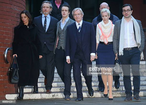 Actor William Roache leaves Preston Crown Court, with Rosalind Bennett and her husband Linus Roache, James Roache, daughter Verity and her partner...