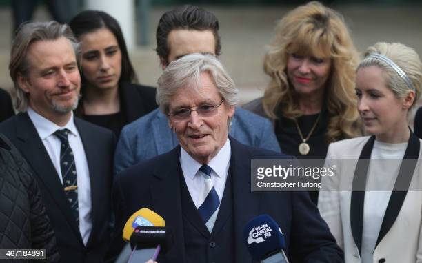 Actor William Roache with his daughter Verity Roache and Linus Roache speaks to the media after leaving Preston Crown Court after being found not...
