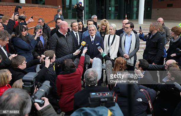 Actor William Roache with his daughter Verity Roache , her partner Paddy, Linus Roache , James Roache speaks to the media after leaving Preston Crown...