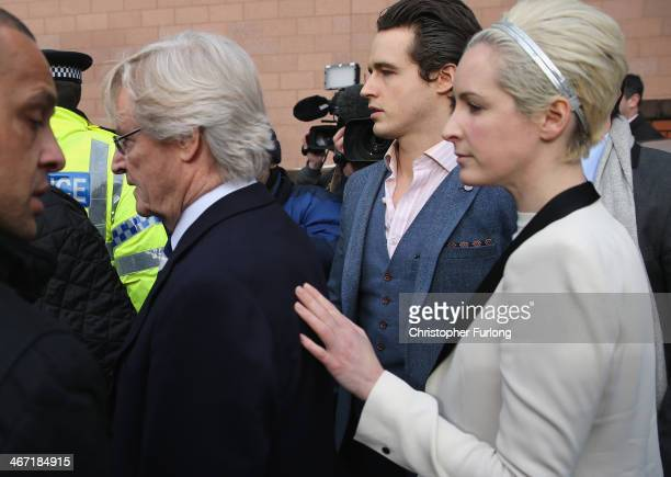 Actor William Roache with his son James Roache and daughter Verity Roache leaves Preston Crown Court after being found not guilty over historical...