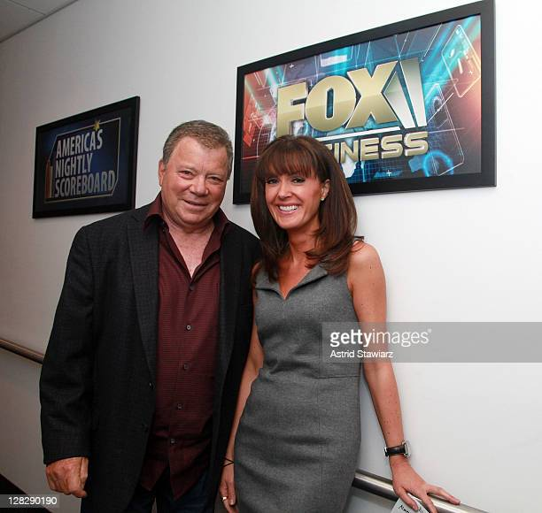 Actor William Shatner and FOX Business Network Anchor Dagen McDowell pose for photos inside FOX Studios on October 6 2011 in New York City