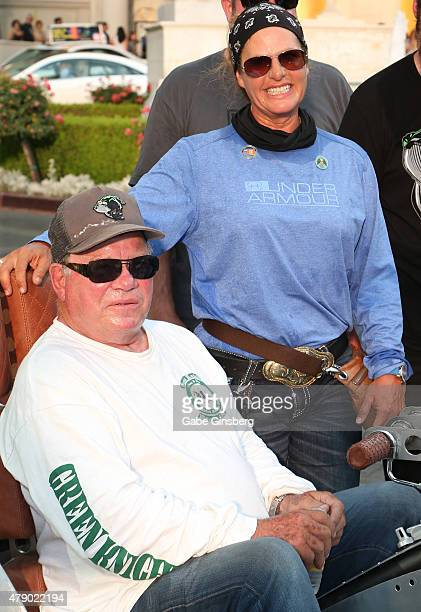 Actor William Shatner and his wife Elizabeth Shatner arrive at Caesar Palace as part of his Rivet Motorcycle Tour on June 29 2015 in Las Vegas Nevada