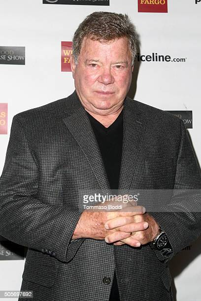 Actor William Shatner attends the Gifting Ceremony For Priceline.com Hollywood Charity Horse Show at The Six Restaurant on January 19, 2016 in Studio...