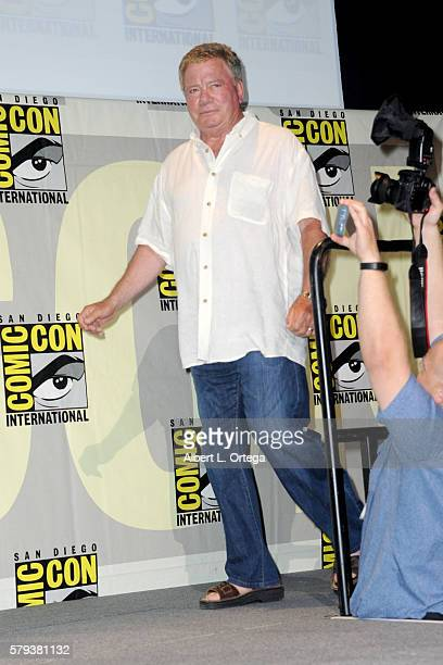 Actor William Shatner attends the 'Star Trek' panel during ComicCon International 2016 at San Diego Convention Center on July 23 2016 in San Diego...