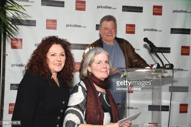 Actor William Shatner gives out donation checks at a gifting ceremony for charities supported by the annual Priceline.com Hollywood Charity Horse...