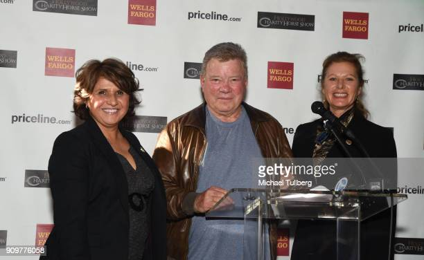 Actor William Shatner gives out donation checks at a gifting ceremony for charities supported by the annual Pricelinecom Hollywood Charity Horse Show...