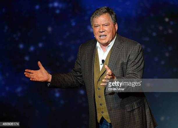 "Actor William Shatner performs during his one-man show, ""Shatner's World: We Just Live In It"" at the MGM Grand Hotel/Casino on June 19, 2014 in as..."