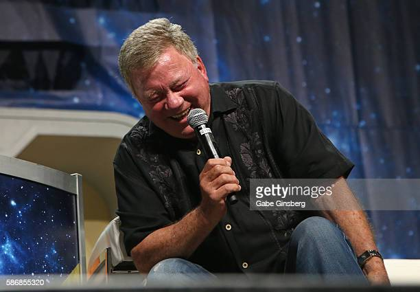 Actor William Shatner reacts to a fan's question during the 15th annual official Star Trek convention at the Rio Hotel Casino on August 6 2016 in Las...