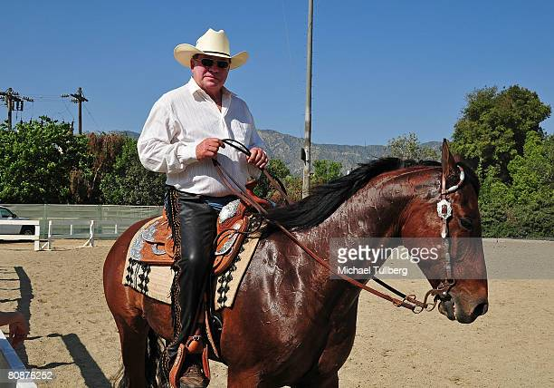 Actor William Shatner rides on horseback during his 18th Annual Hollywood Charity Horse Show held at the Los Angeles Equestrian Center on April 26...
