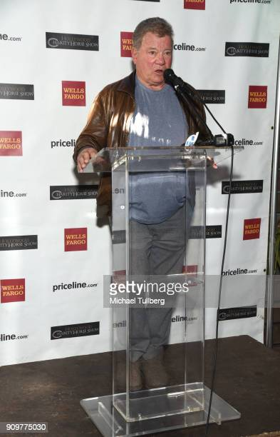Actor William Shatner speaks at a gifting ceremony for the charities supported by the annual Priceline.com Hollywood Charity Horse Show sponsored by...
