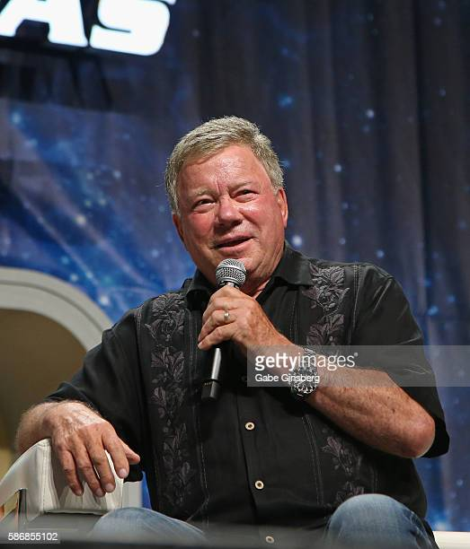 Actor William Shatner speaks during the 15th annual official Star Trek convention at the Rio Hotel Casino on August 6 2016 in Las Vegas Nevada