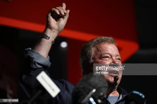 Actor William Shatner speaks during the opening of the new Rocket Lab factory on October 12, 2018 in Auckland, New Zealand. The new building includes...