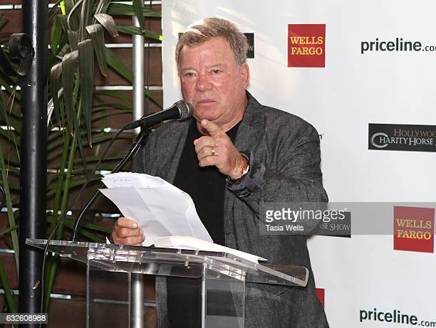 Actor William Shatner speaks onstage at the William Shatner and Wells Fargo's breakfast gifting ceremony awarding funds from 2016 Pricelinecom...