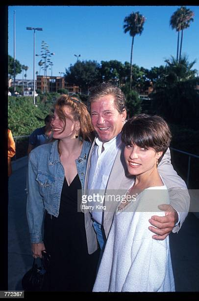 Actor William Shatner stands with his daughters at the Ringling Brothers and Barnum Bailey Circus July 31 1990 in Los Angeles CA The Ringling...