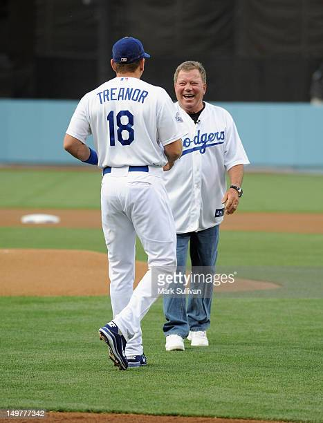 Actor William Shatner with Los Angeles Dodger catcher Matt Treanor after throwing out the ceremonial first pitch during Star Trek Night at Dodger...