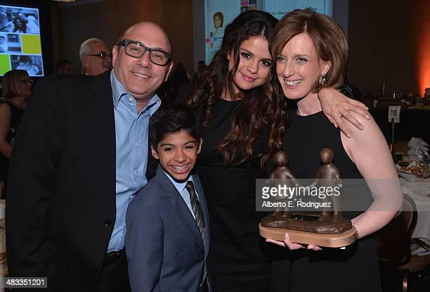 Actor Willie Garson son Nathan Garson actress Selena Gomez and President of The DisneyABC Television Group Anne Sweeney attend The Alliance For...