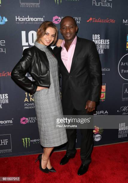 Actor Wills Canga and Ekaterina Yakovleva attend the Domingo Zapata Fashion Show at the Los Angeles Fashion Week 10th season anniversary at The...