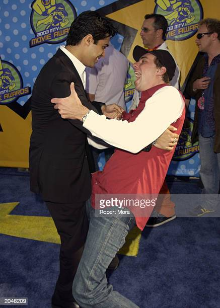 Actor Wilmer Valderrama and actor Dax Sheppard attend The 2003 MTV Movie Awards held at the Shrine Auditorium on May 31 2003 in Los Angeles California