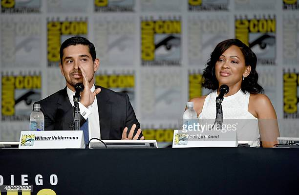 Actor Wilmer Valderrama and actress Meagan Good speak onstage at the 'Minority Report' panel during ComicCon International 2015 at the San Diego...