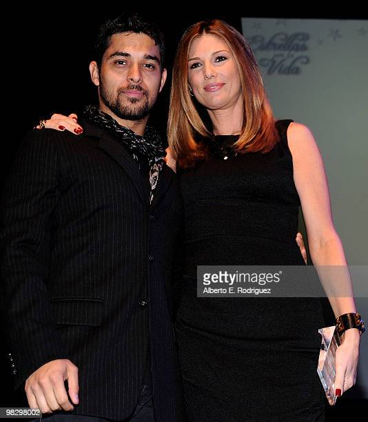 Actor Wilmer Valderrama and actress/model Daisy Fuentes on stage at the inaugural St Jude Children's Hospital's Estrellas Por La Vida gala on April 6...