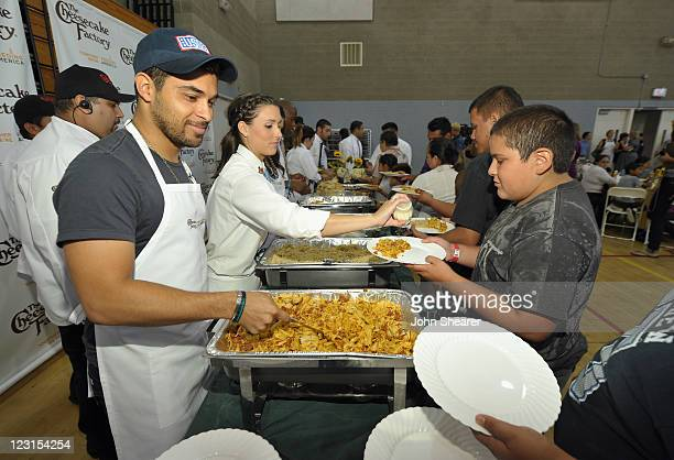 Actor Wilmer Valderrama joins The Cheesecake Factory to kickoff Feeding America's Hunger Action Month by catering a community lunch at Maywood Parks...