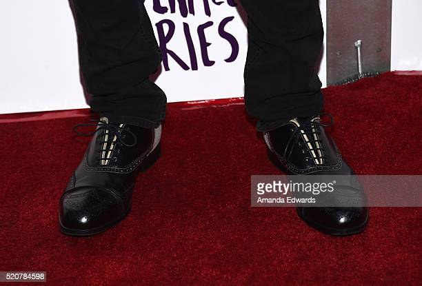 Actor Wilmer Valderrama shoe detail arrives at A24/DIRECTV's 'The Adderall Diaires' premiere at the ArcLight Hollywood on April 12 2016 in Hollywood...