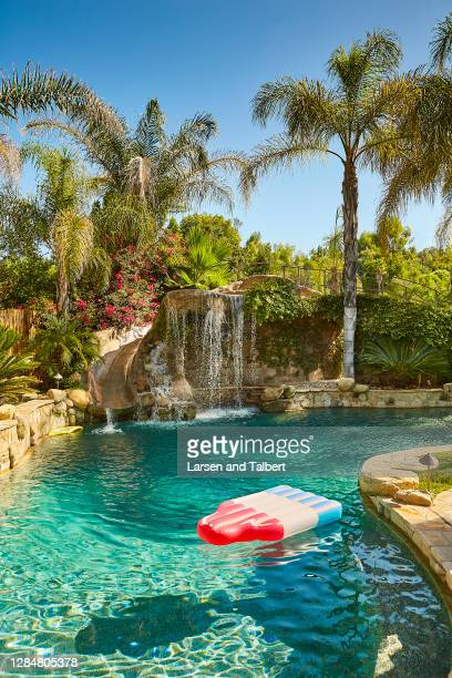 Actor Wilmer Valderrama's home is photographed for People Magazine on August 27, 2019 in Los Angeles, California. Pool area includes a waterfall and...