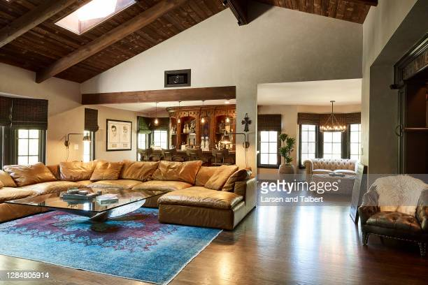 Actor Wilmer Valderrama's home is photographed for People Magazine on August 27, 2019 in Los Angeles, California. Living room includes a leather...