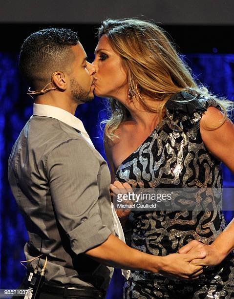 Actor Wilson Cruz and actress Candis Cayne onstage at the 21st Annual GLAAD Media Awards held at Hyatt Regency Century Plaza Hotel on April 17 2010...
