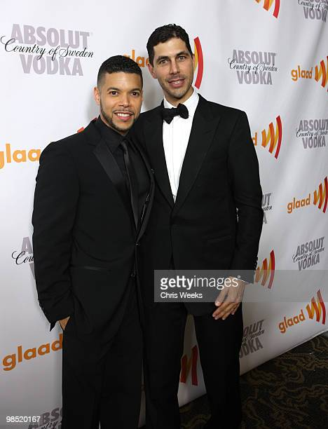Actor Wilson Cruz and GLAAD President Jarrett Barrios pose during the cocktail reception for the 21st Annual GLAAD Media Awards held at Hyatt Regency...