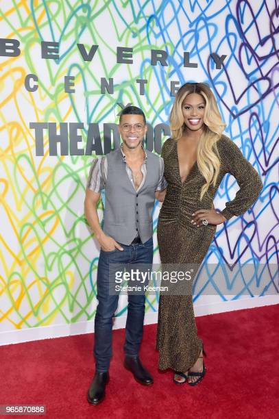 Actor Wilson Cruz and Laverne Cox celebrate at Beverly Center and The Advocate's Champions of PRIDE Event on June 1 2018 in Los Angeles California